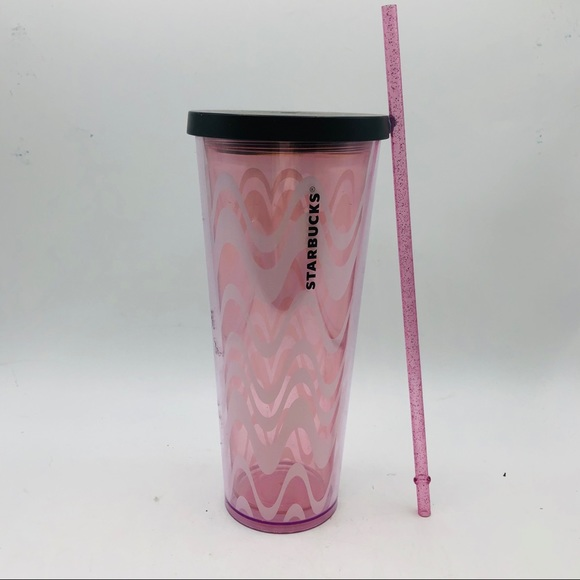 Starbucks 24 oz Plastic Tumbler Pink w Wavy lines